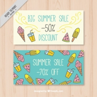Hand Drawn Sale Summer Banners