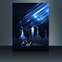 Blue Glowing Eid Mubarak Flyer
