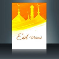 Yellow Eid Mubarak Flyer With Brush Strokes