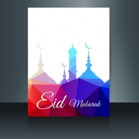 Colorful Eid Mubarak Flyer In Polygonal Style