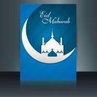 Blue Color Eid Mubarak Flyer With A Mosque