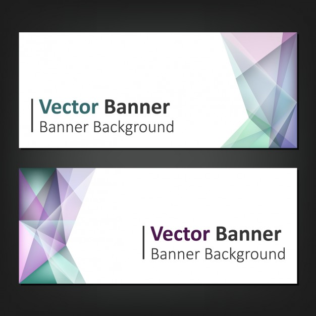 Multicolor With Polygonal Shapes Banners Set
