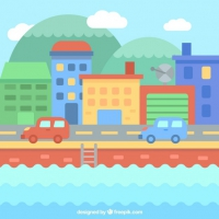 Colored City Background With Cars
