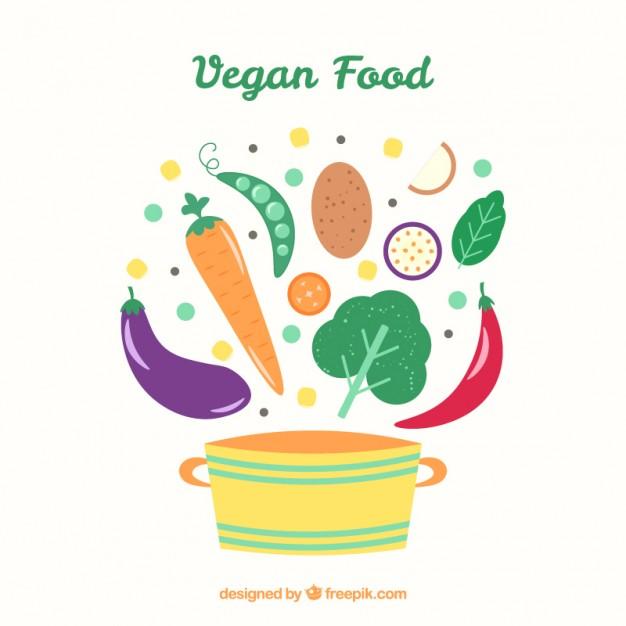 Hand Drawn Tasty Vegan Food