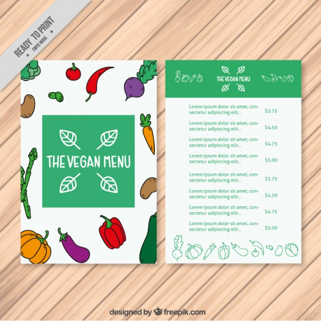 Hand Drawn Vegetables Vegan Menu