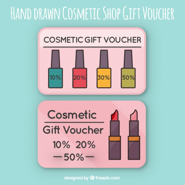 Hand Drawn Cosmetic Shop Gift Voucher
