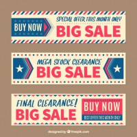 Sale Banners In Vintage Style