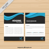 Modern Brochure With Blue Waves