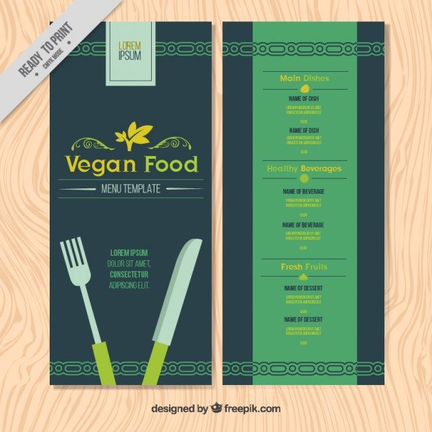 Simple Vegan Menu Template