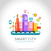 Flat Colorful Tecnological City Background