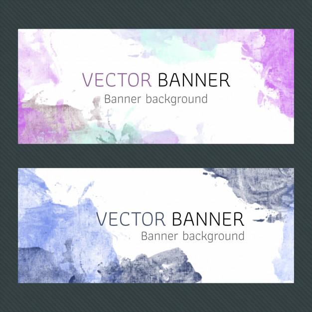 Purple Watercolor Banners Design