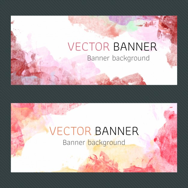 Red Watercolor Banners Design