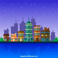Night City With Buildings Background In Flat Design