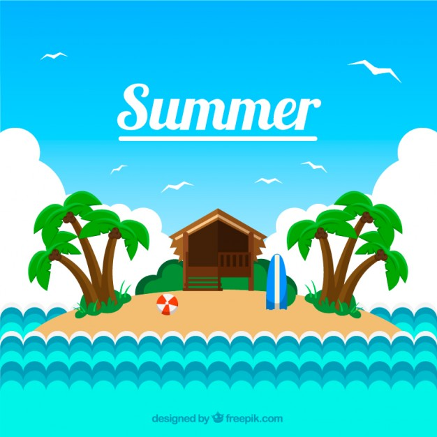 Little Island Background In Summertime