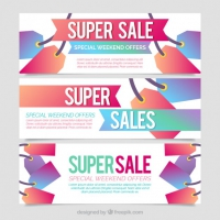 Set Of Sale Banners With Tags