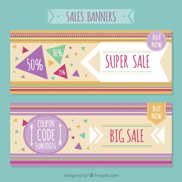 Modern Sales Banners With Triangles