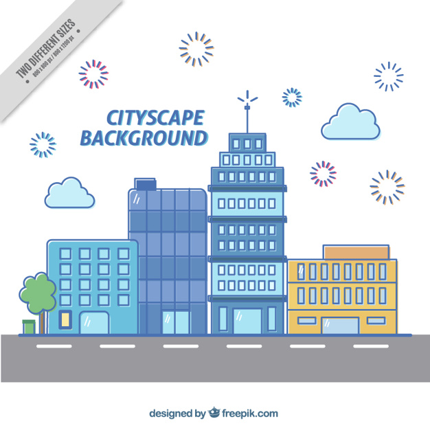 Modern Cityscape Background In Flat Design