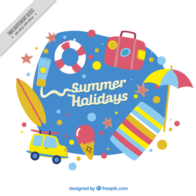 Hand Painted Cute Summer Accessories Background