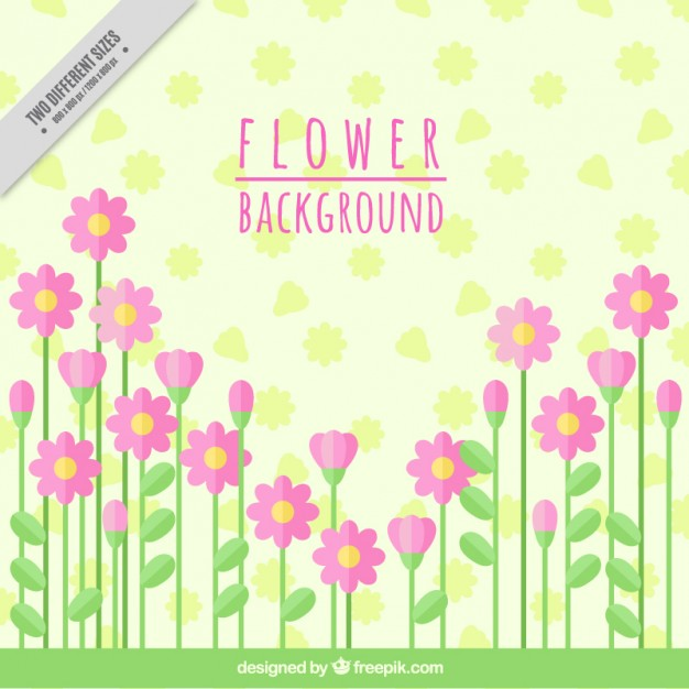 Background With Pink Flowers In Flat Design