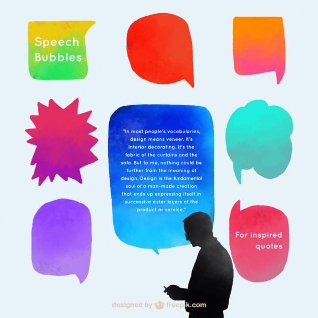 Cute Watercolor Speech Bubbles