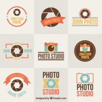 Collection Of Flat Photography Vintage Badge