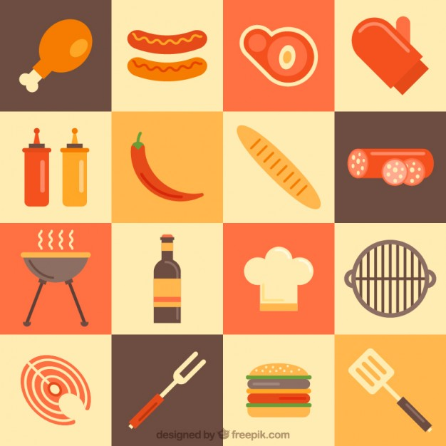 Variety Of Bbq Elements In Flat Design
