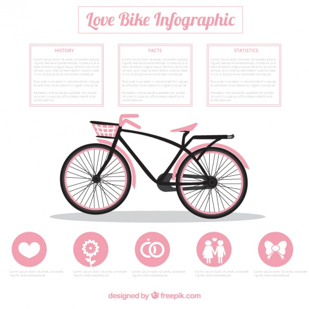 Bike Infographic In Pink Color