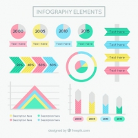 Flat Infographic Elements In Pastel Colors