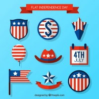 Collection Of Flat American Element For Independence Day