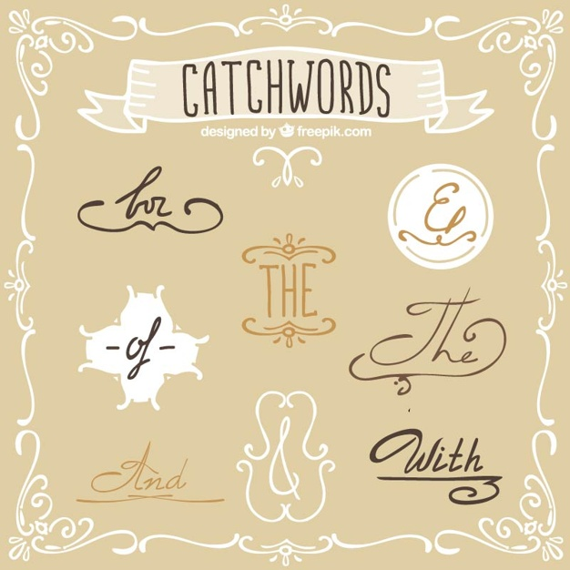 Elegant Catchwords In Vintage Style