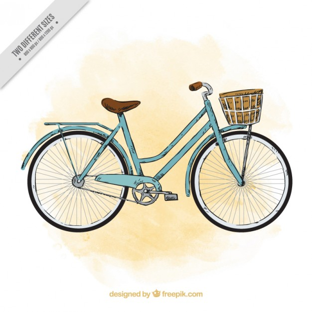 Sketchy Watercolor Vintage Bicycle Background