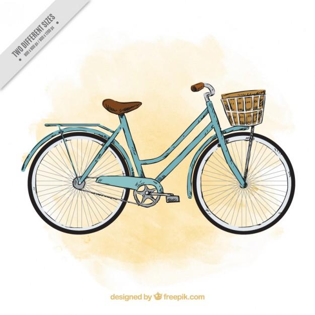 Sketchy Watercolor Vintage Bicycle Background