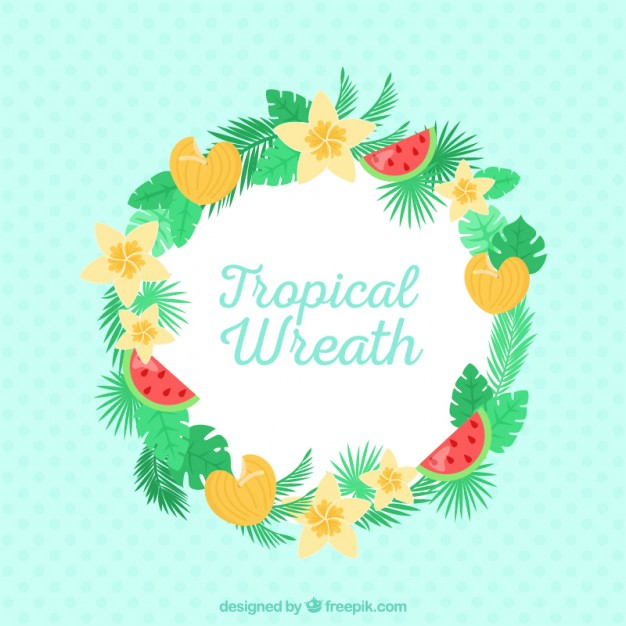 Cute Wreath With Topical Flowers And Fruits