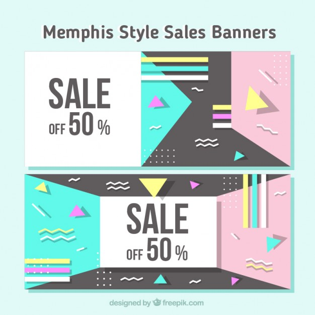 Sale Banners With Geometric Shapes