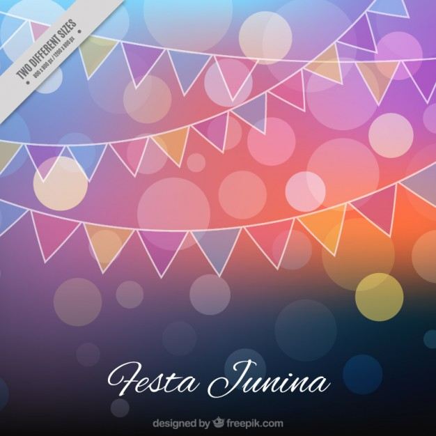 Festa Junina Bokeh Background With Garlands