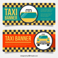 Vintage Taxi Banners With Grey And Yellow Squares