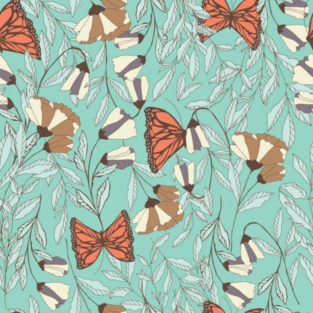 Flowers Fnd Butterflies Pattern