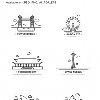 World Landamark 12 Free Icons