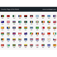 Complete Set of 206 World Country Flags