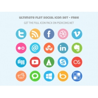 Ultimate Flat Social Icon Set - Free Version