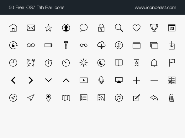 IconBeast Lite 7 | Free iOS 7 Tab Bar Icons