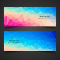 Banners With Full Color Polygonal Shapes