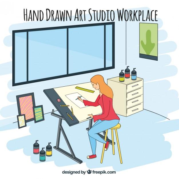 Illustration Of Girl In Her Art Studio