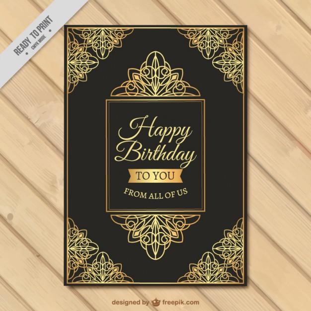 Birthday Card Of Golde Ornamental Details