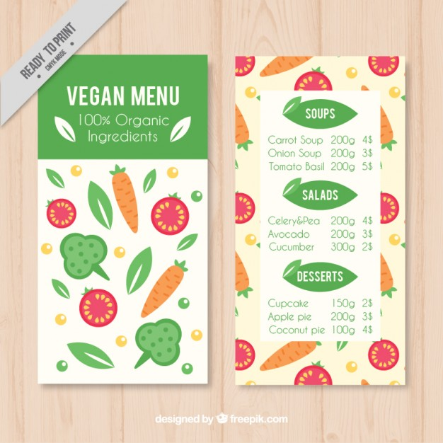 Pretty Vegan Menu Template With Vegetables