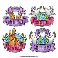 Set Of Watercolor Peace Day Badges