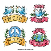 Collection Of Hand-Drawn Watercolor Badge