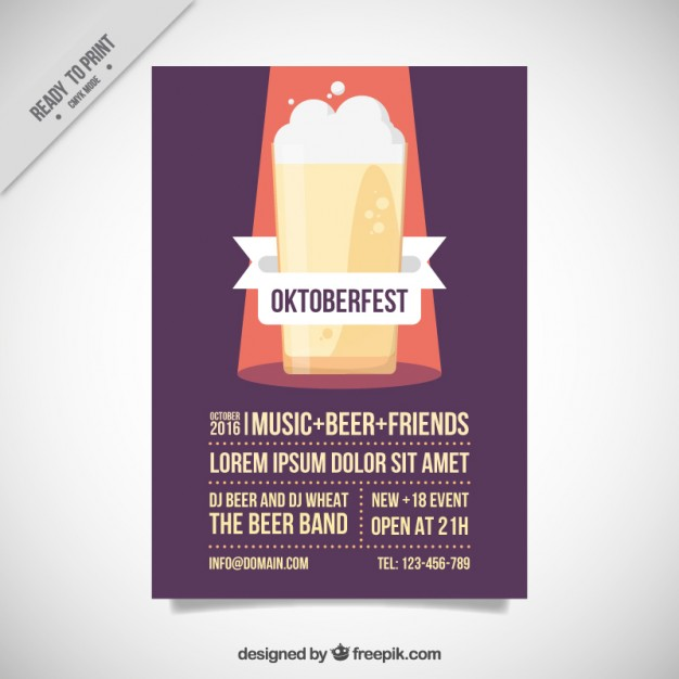 Poster With A Flat Beer For Oktoberfest