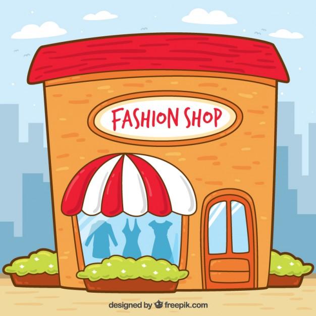 Vintage Shop Wwindow Of Hand Drawn Clothes