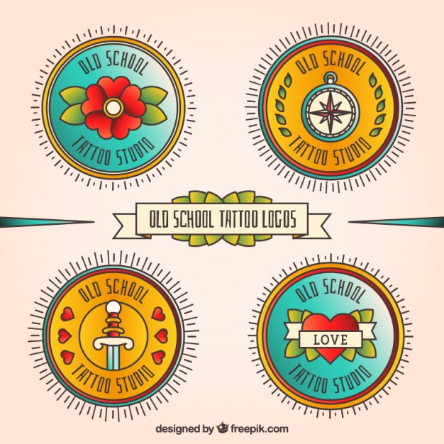 Round Logos Tattoo In Retro Style
